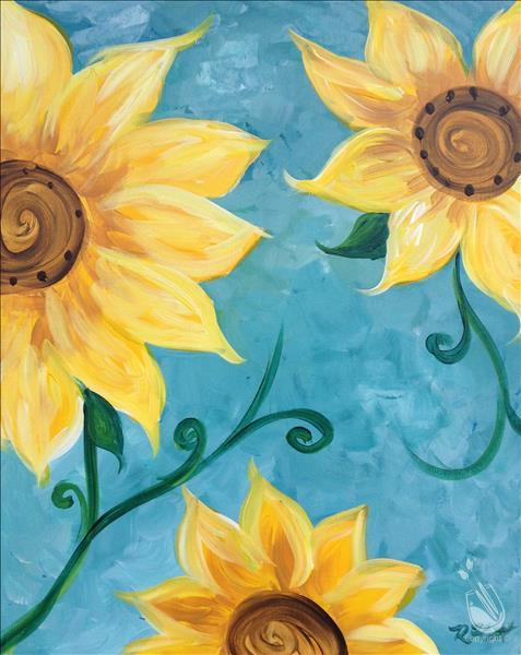 Sunflowers on Teal - Side 2