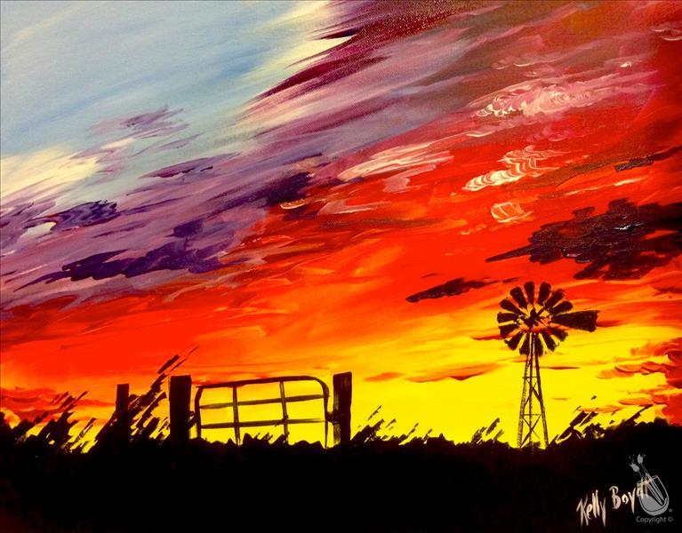 How to Paint North Carolina Sunset! *WINE WED* $1 House Wines