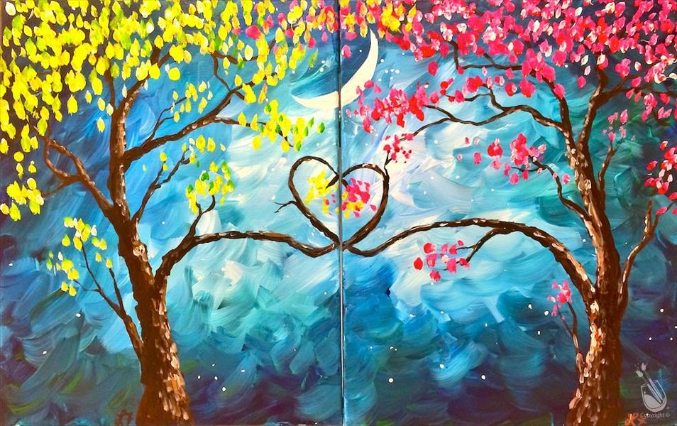 How to Paint *VIRTUAL DATE NIGHT* Love Trees at Night Set