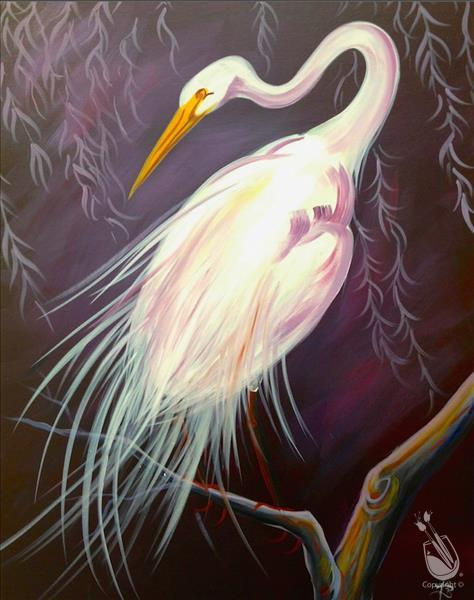 Egret on Large Canvas or choose your SIZE!