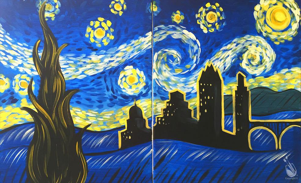 Van Gogh's to Austin / Couples each paint a side