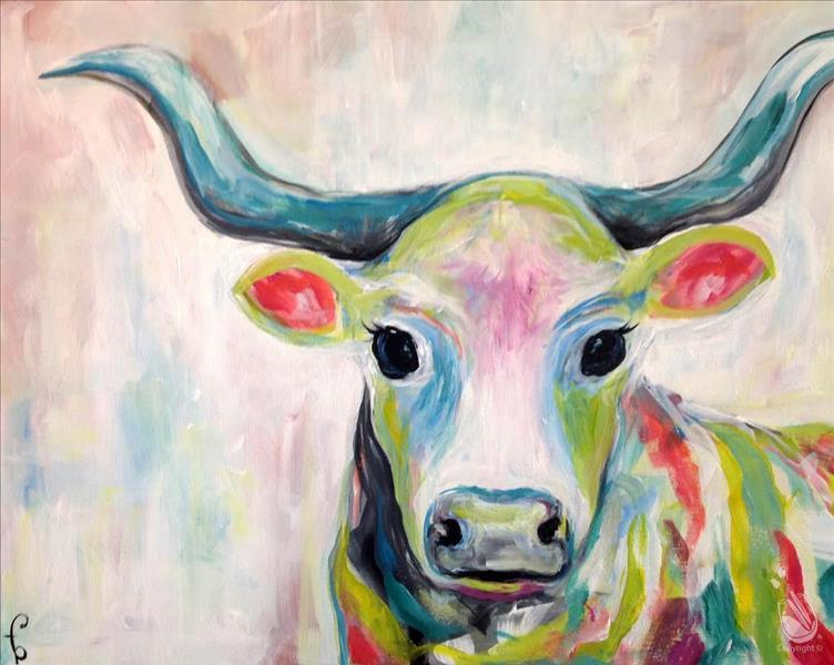 Colorful Cow In-Studio $35 16X20 Canvas Special!