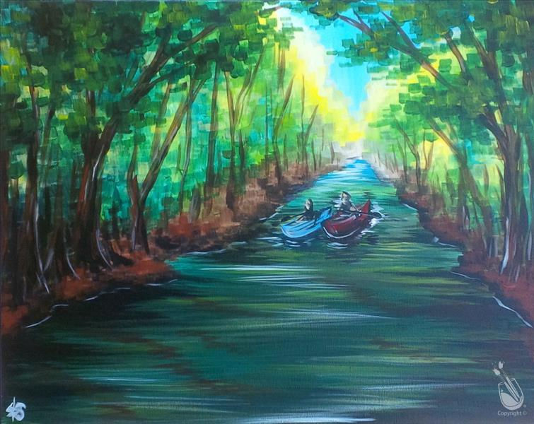 How to Paint Canoeing the Pine Barrens New Jersey
