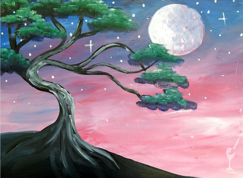 How to Paint A Moonlit Tree
