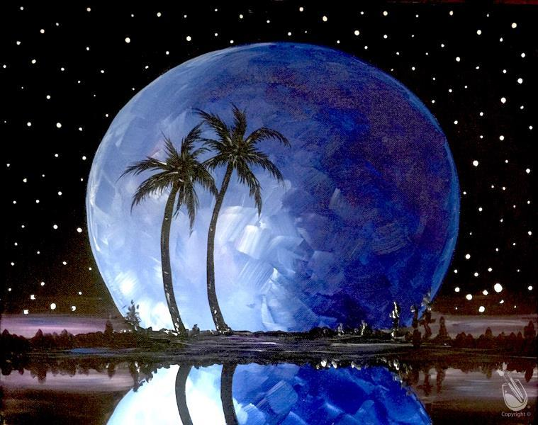 How to Paint Florida Moon in Blue (All Ages)