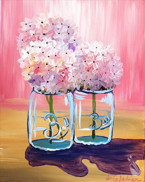 Hydrangeas on Pink