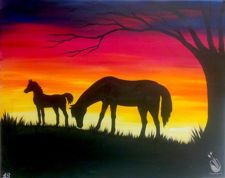 Mare and Foal at Sunset