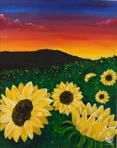 LIVE VIRTUAL CLASS~Sunflowers at Sunset