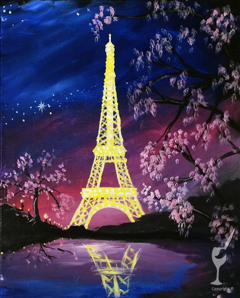 How to Paint Paris Under a Pink Moon - Eiffel Tower