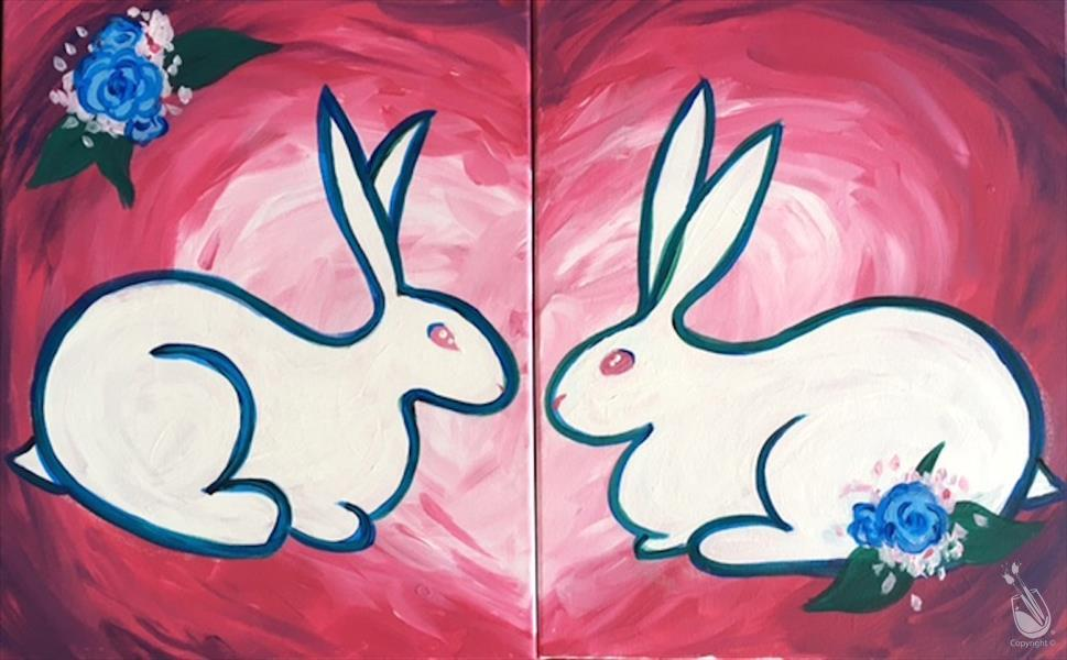 How to Paint Love Bunnies Set- Kids/Family/Adults