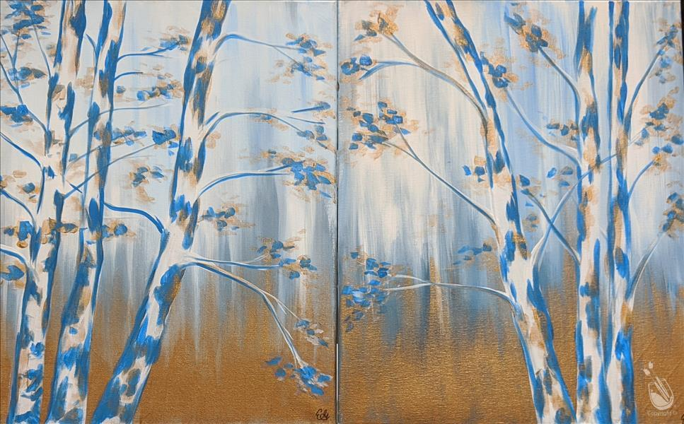 Birches in Gold SET - IN STUDIO ($35 per side)