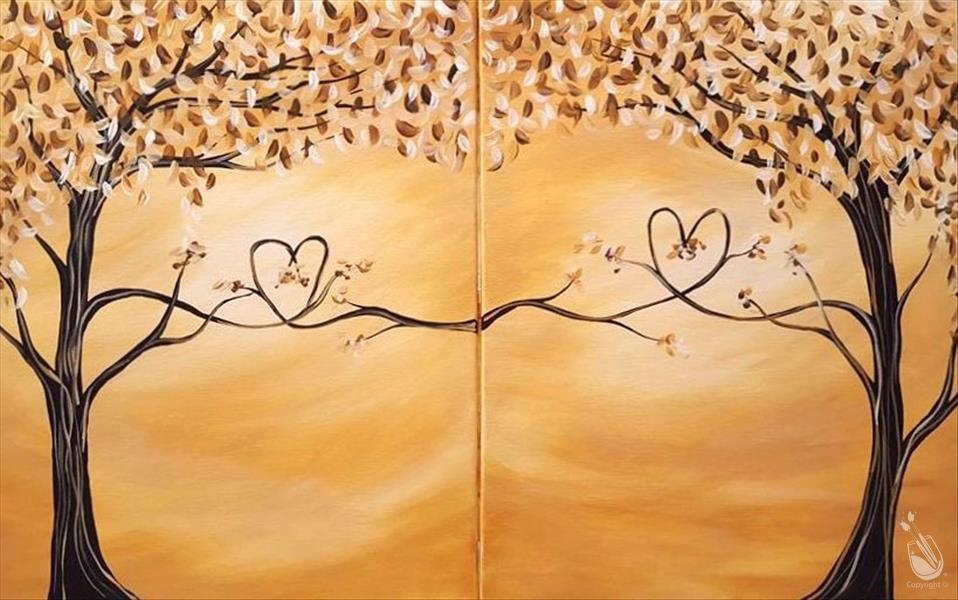 How to Paint Couple's Night: Fall In Love Trees Set