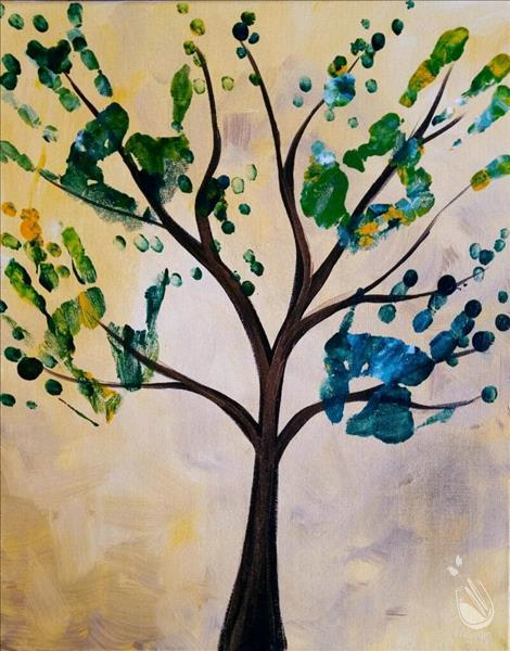 Handprint tree all ages sunday january 22 2017 for Painting with a twist alamo ranch
