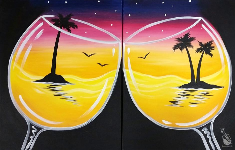 **Cheers to the Sunset**  Sip & Paint pARTy