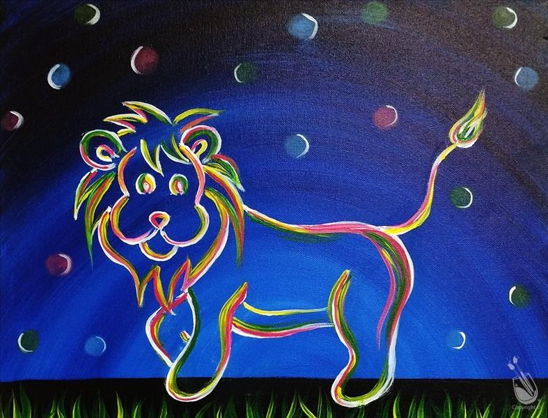 Neon Lion II - BLACKLIGHT PARTY-In studio Class