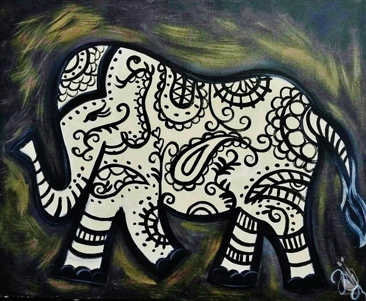 Black and Gold Paisley Elephant