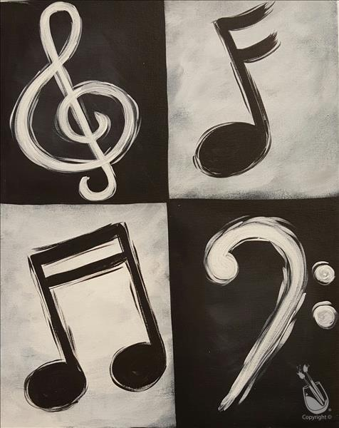 How to Paint Black and White Music Notes ADULTS ONLY