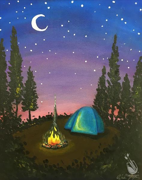 How to Paint **CAMP NIGHT THEME NIGHT** Moonlit Campfire