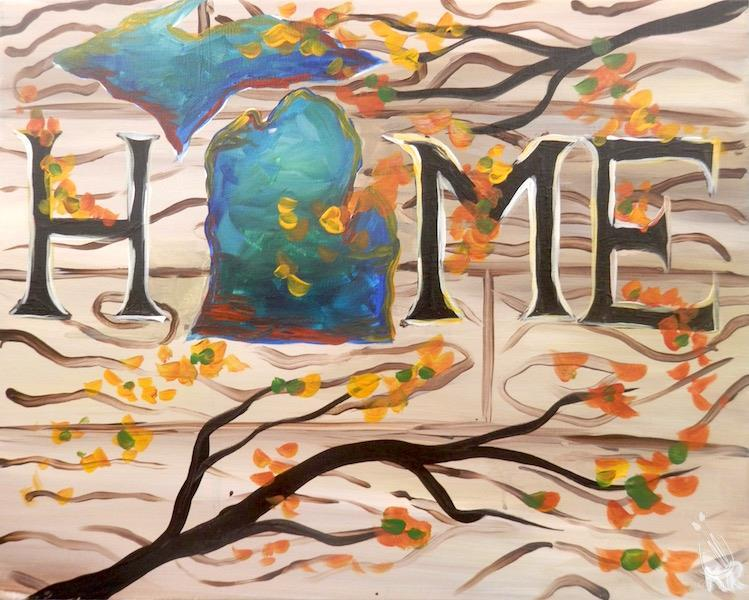 How to Paint **COFFEE & CANVAS** Home for a Michigan Autumn
