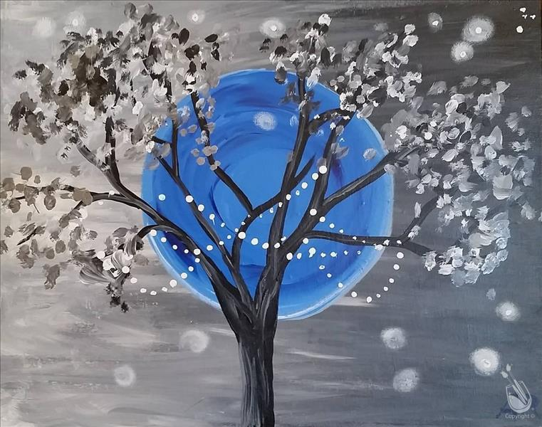 How to Paint Icy Blue Moon - Sip and Paint
