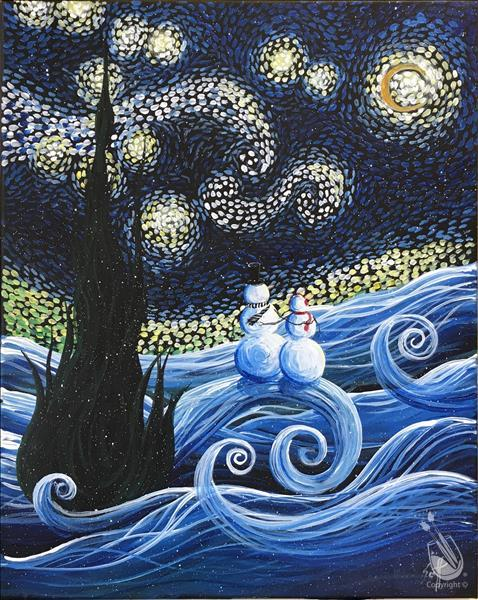 Starry Winter Sky Painting Party