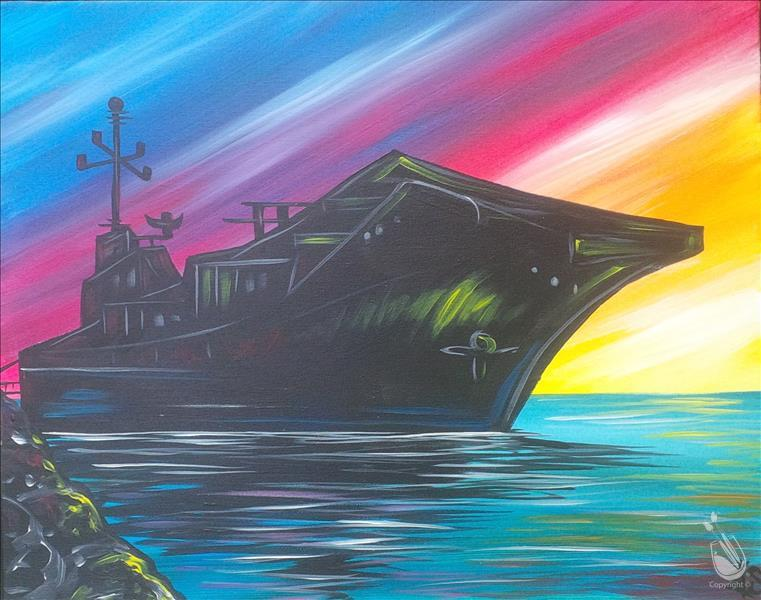 The uss lexington at sunset sunday february 12 2017 for Painting with a twist lexington
