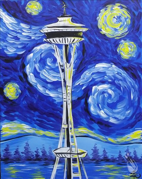 Starry Night Space Needle *Choose Your Surface*